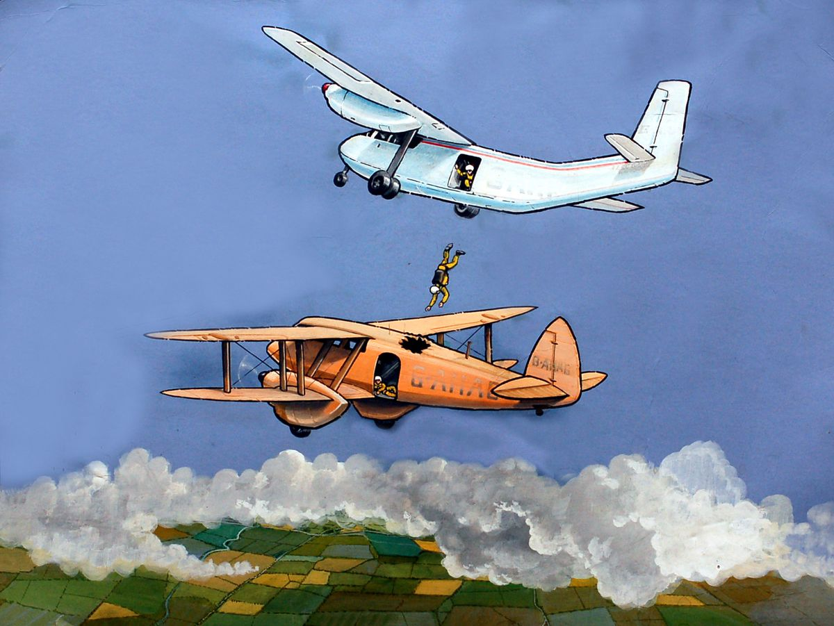 An artist's impression of incident on July 15, 1972 – it is actually inaccurate, as although Mike Bolton did go through the roof and end up the doorway of the lower plane, the second parachutist, Mike Taylor, depicted in the painting still in the air, had actually jumped before him.