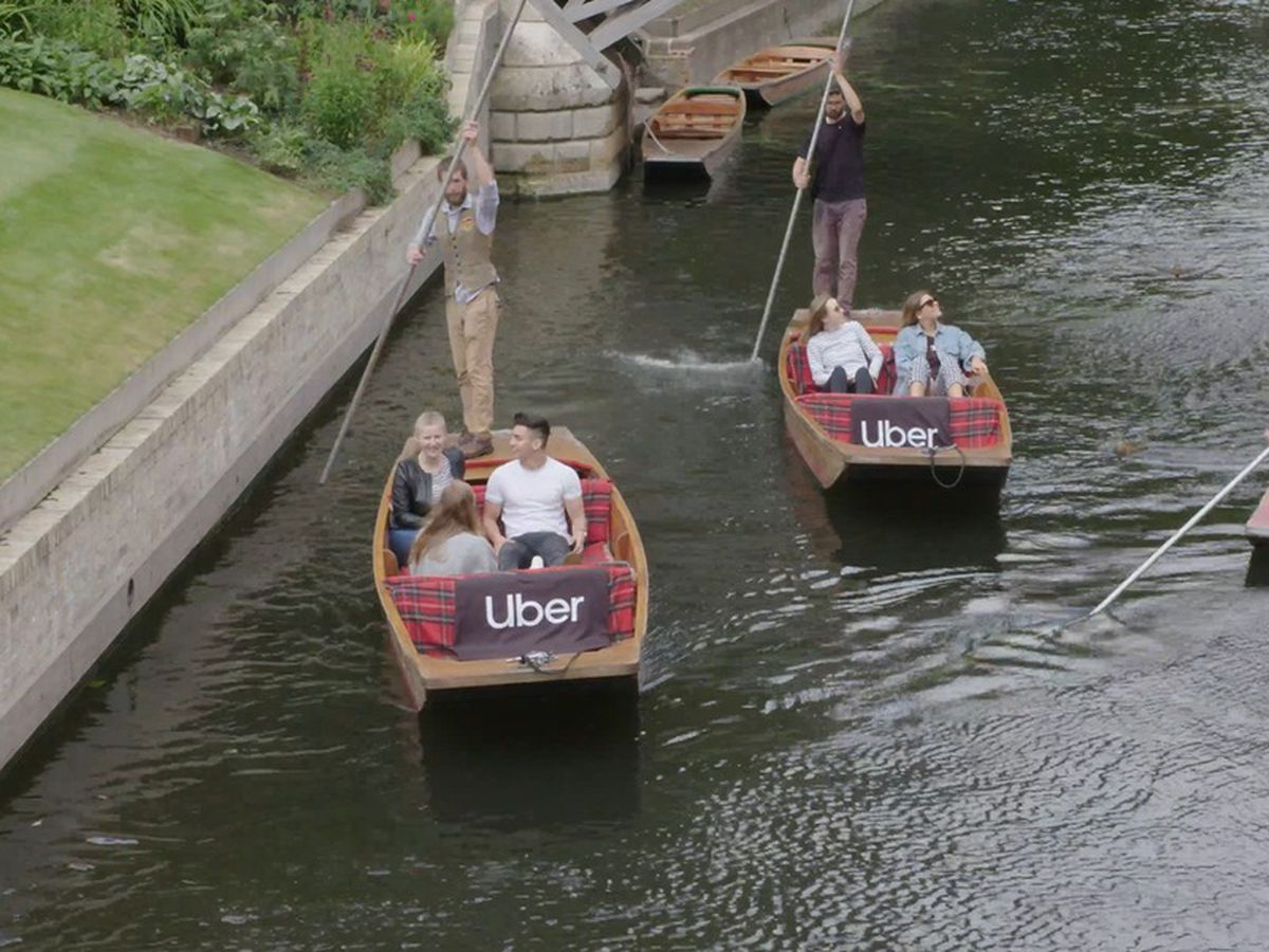 The Uber Boat punts on the River Cam