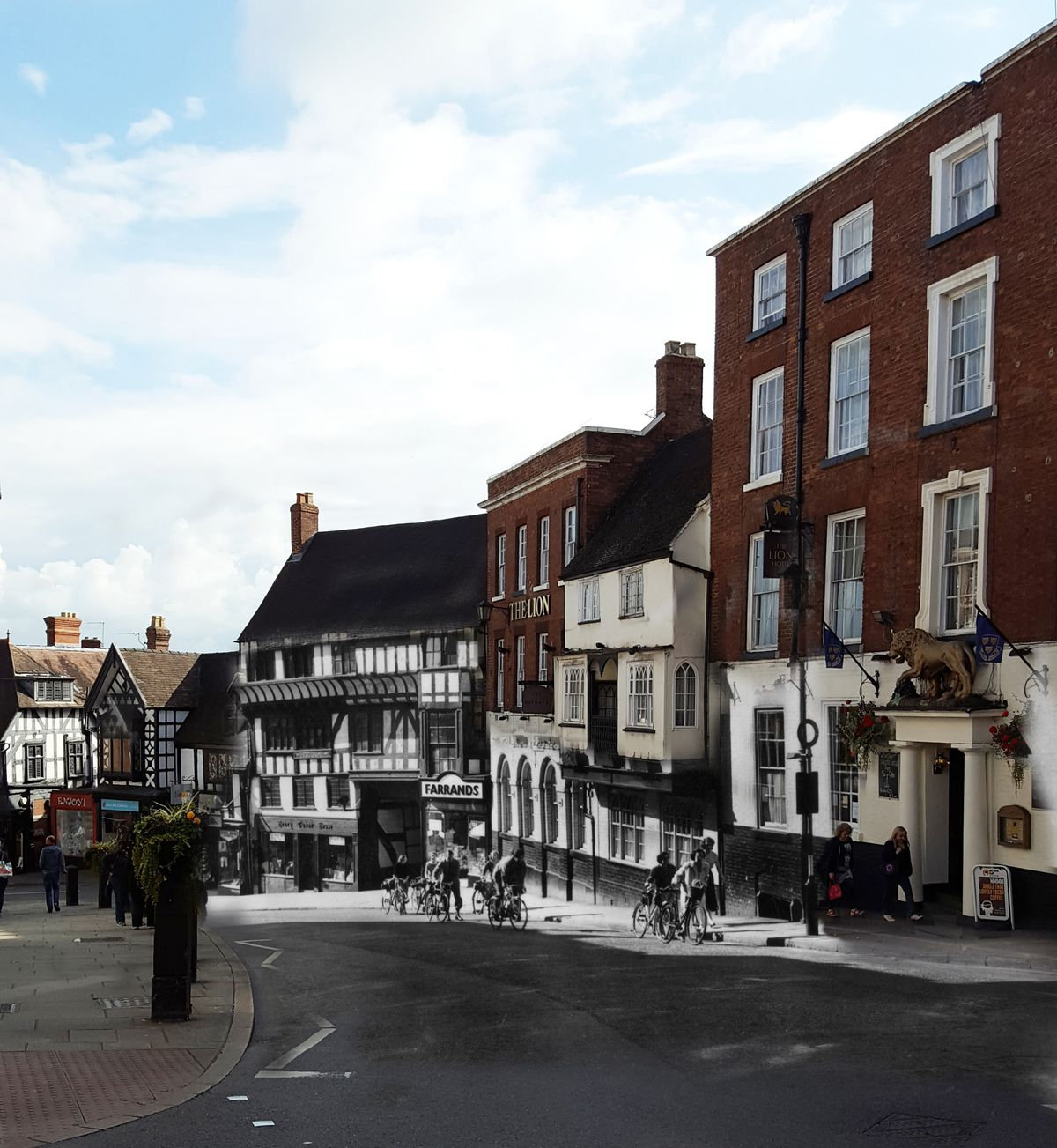 Shrewsbury folk of 100 years ago would recognise this street in an instant - we're at the top of Wyle Cop, with the Lion Hotel on the right