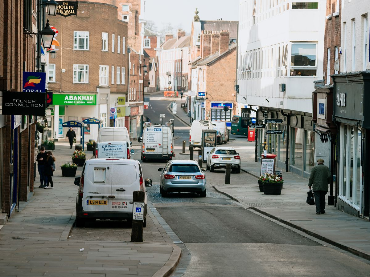 Shoplatch in Shrewsbury pictured at the start of lockdown one in 2020 before the work was carried out