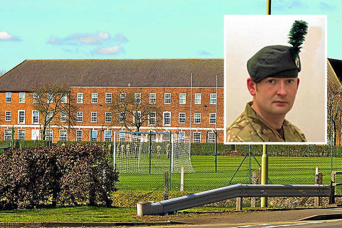Tern Hill Barracks, where the body of Corporal Geoffrey McNeill, inset, was found