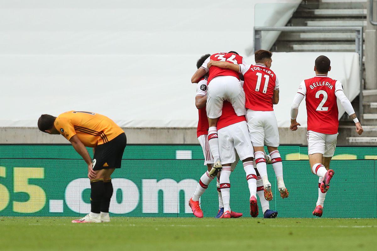 A dejected Jonny of Wolverhampton Wanderers after Alexandre Lacazette of Arsenal scored a goal to make it 0-2 (AMA)