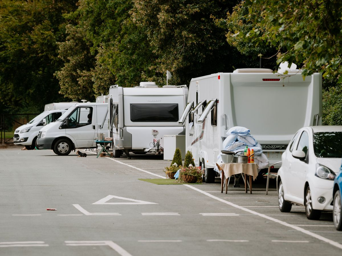 The travellers on Frankwell Car Park last week
