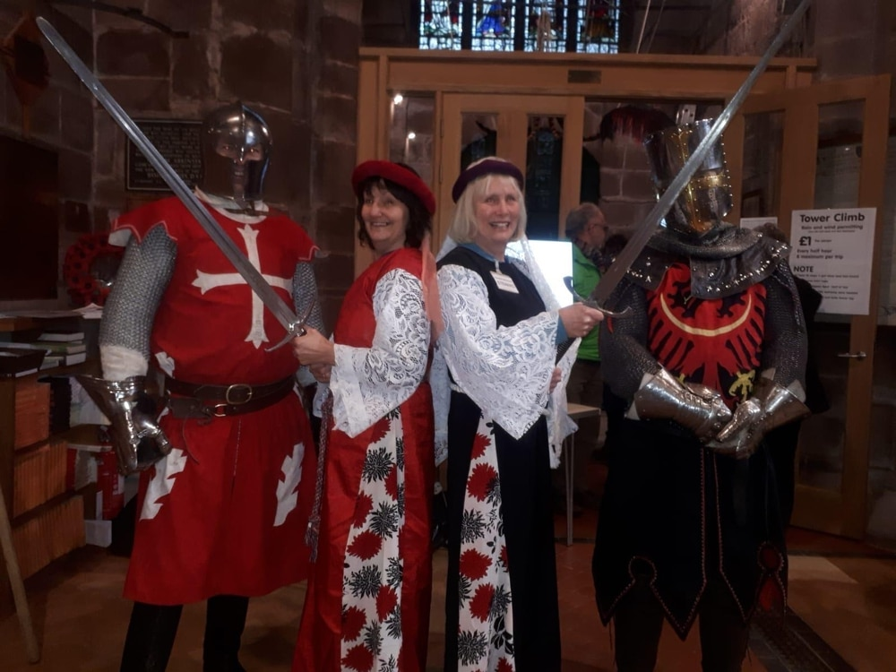 Knights on patrol help village near Market Drayton celebrate history