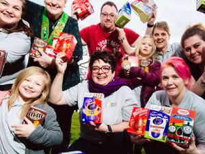LAST COPYRIGHT SHROPSHIRE STAR JAMIE RICKETTS 27/03/2018 - MyFam Project charity has been donated 50 Easter Eggs for their Easter Hunt at Old Bens Homes in Newport, by Foresters Friendly Society - Organiser Hannah Whitmore.