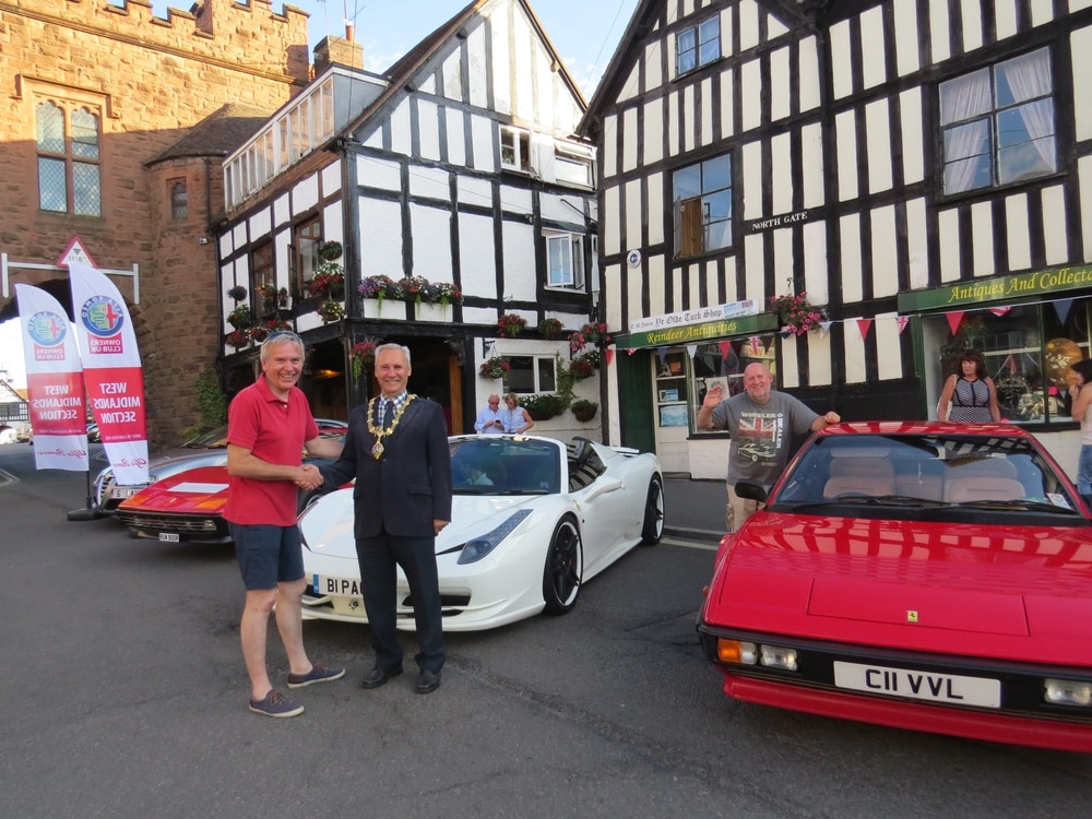Alfa Romeos and Ferarris on parade in Bridgnorth in celebration of Italian engineering