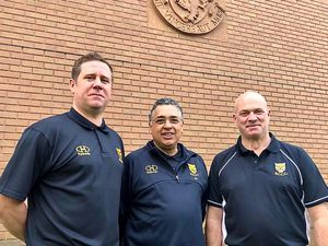 Director of cricket John Abrahams, centre, with James Ralph, left, and Tony Parton, who are part of Shropshire County Cricket Club's new selection committee.