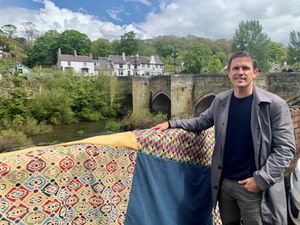 Artist Luke Jerram stands in front of Llangollen Bridge