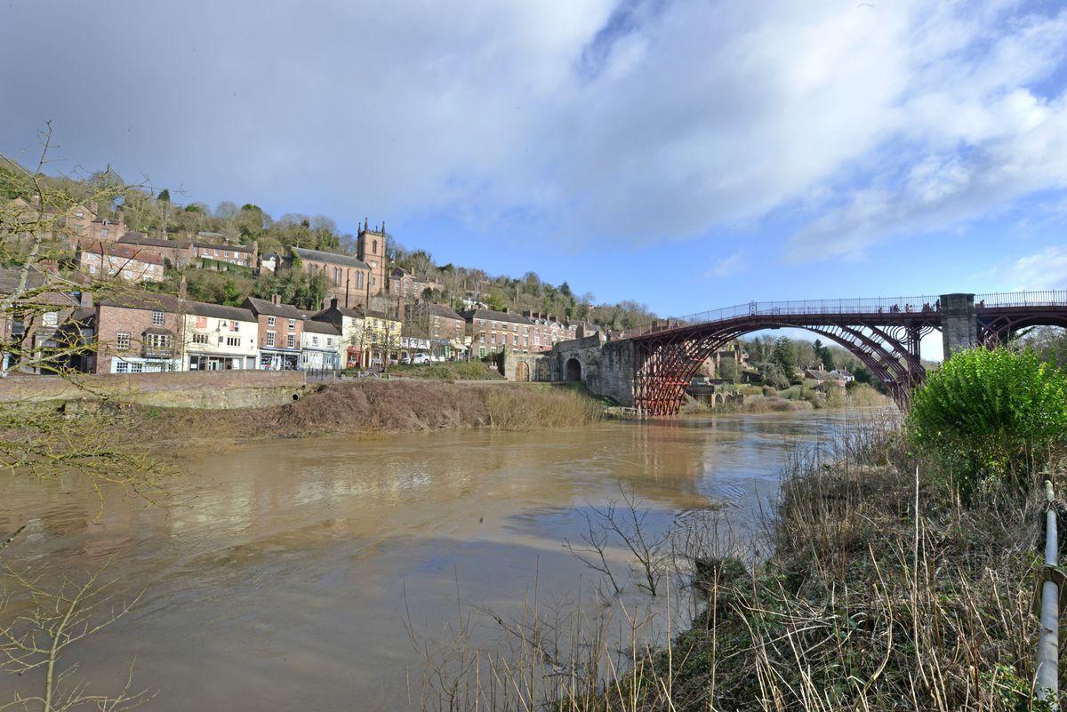 The River Severn in high in Ironbridge