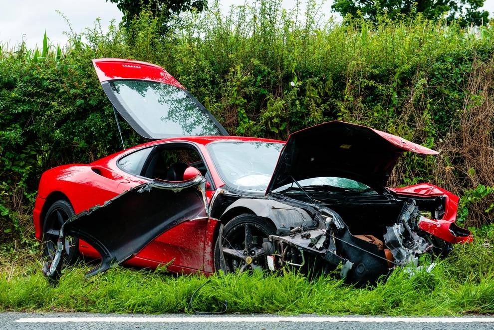Ferrari Wrecked After Smashing Into Wall Near Shrewsbury