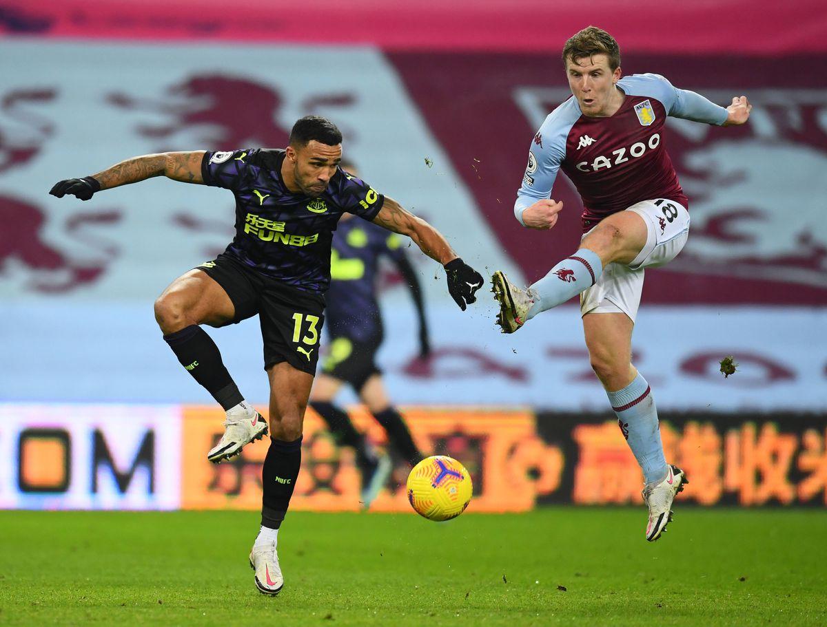 Newcastle United's Callum Wilson (left) and Aston Villa's Matt Targett