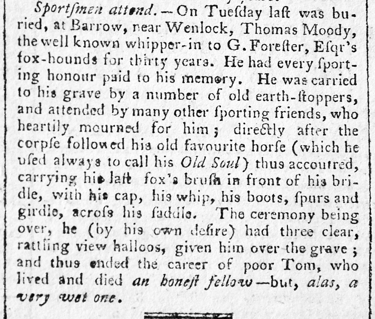 The funeral was reported in a contemporary Shrewsbury Chronicle.