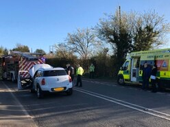Suspected drink driver crashes near Newport, leading to engine fire