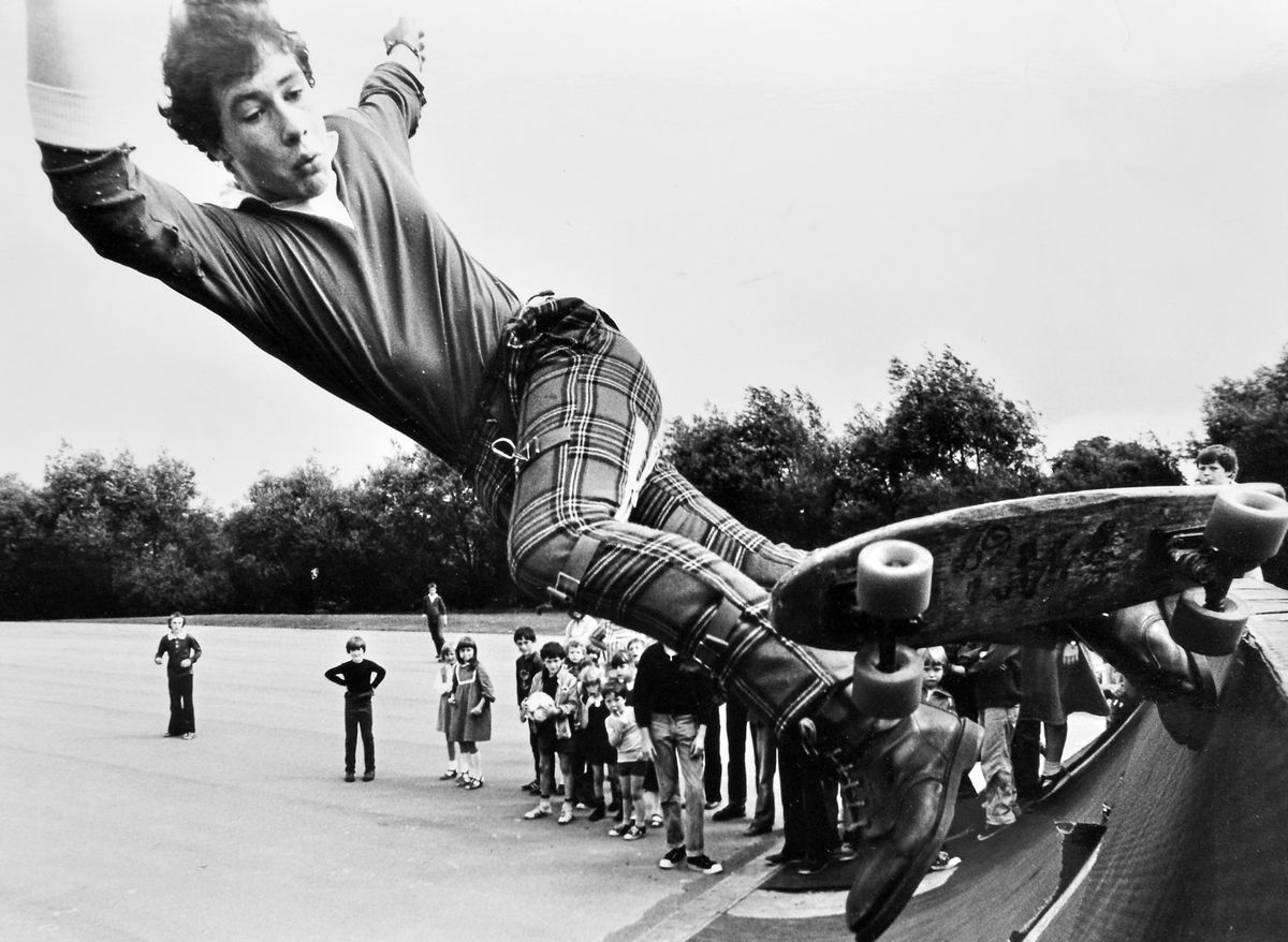 Remember when skateboarding was a real craze? Here high-flying skateboarder Mervyn Thomas, aged 14, of Springfield, Shrewsbury, gives an impromptu demonstration of his skills at Shrewsbury Skateboard Park, watched by some no doubt impressed youngsters. The date is Thursday, August 14, 1980.