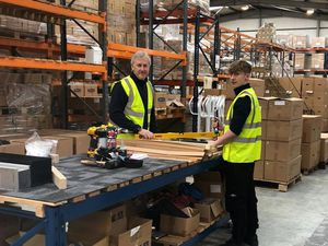 CEL apprentice Lewis with sales director Simon Cartwright