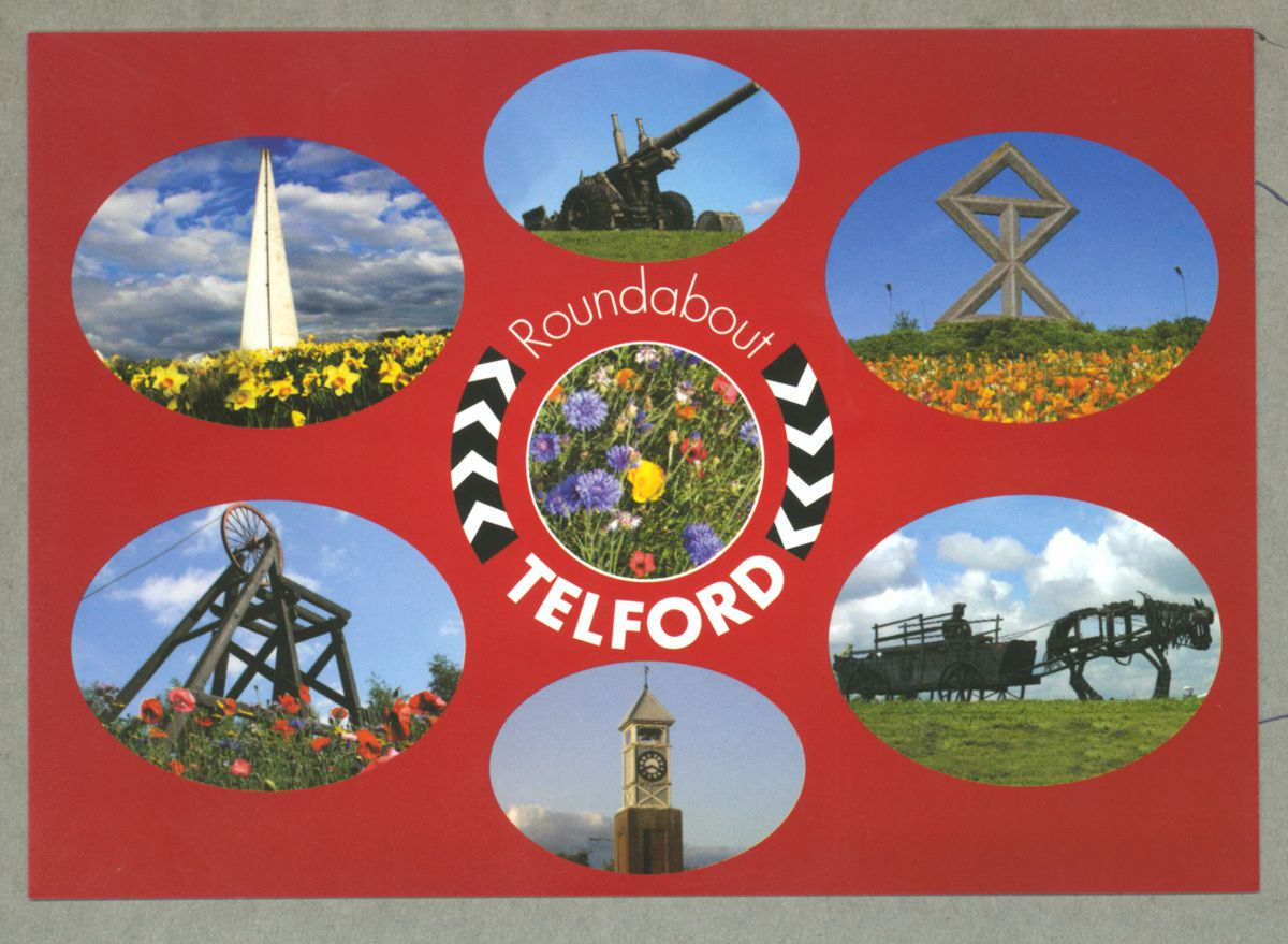 Telford's roundabouts were put in the spotlight in a postcard.