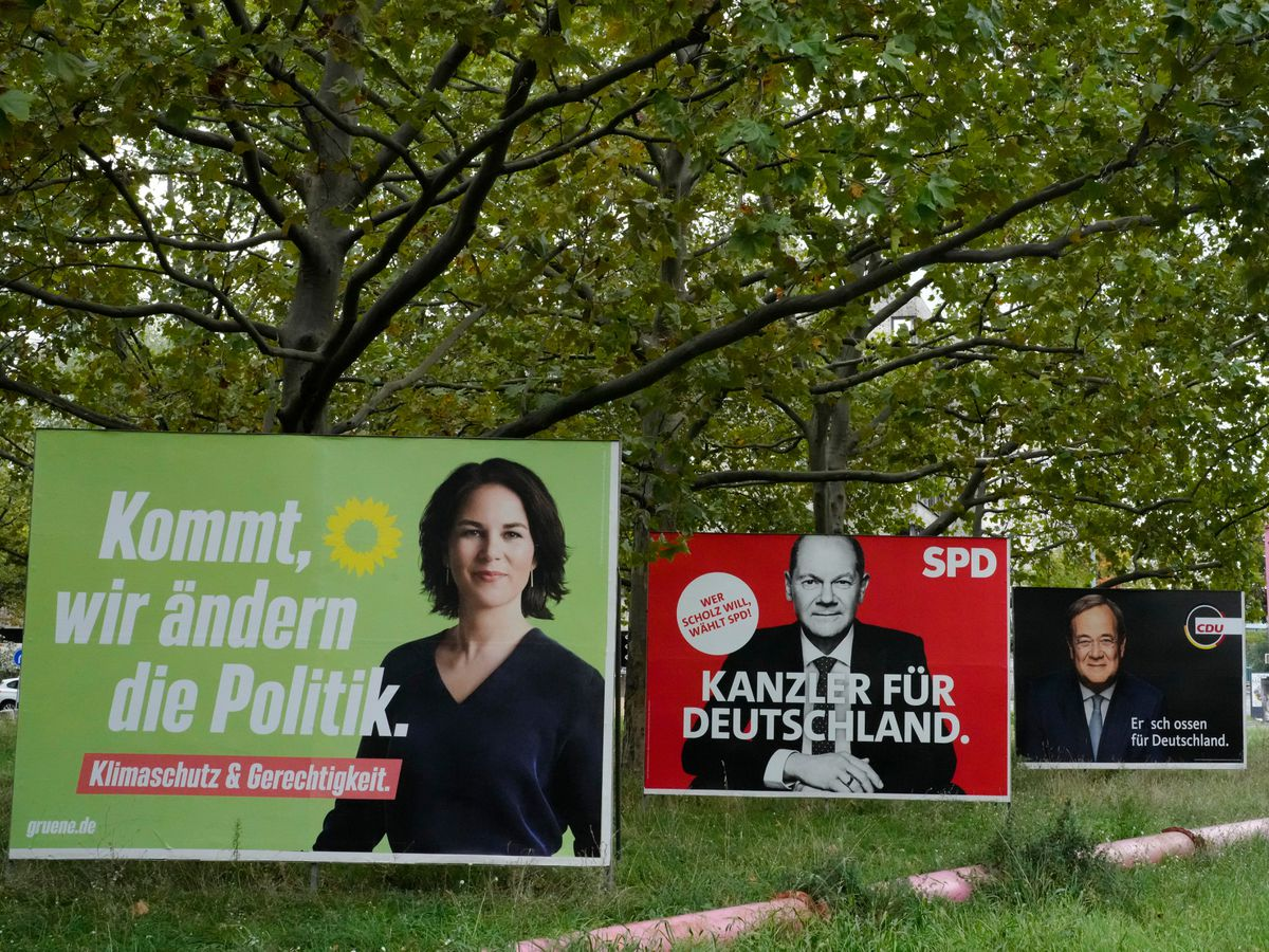 Election campaign billboards of candidates for chancellery Annalena Baerbock, Olaf Scholz and Armin Laschet displayed in central Berlin