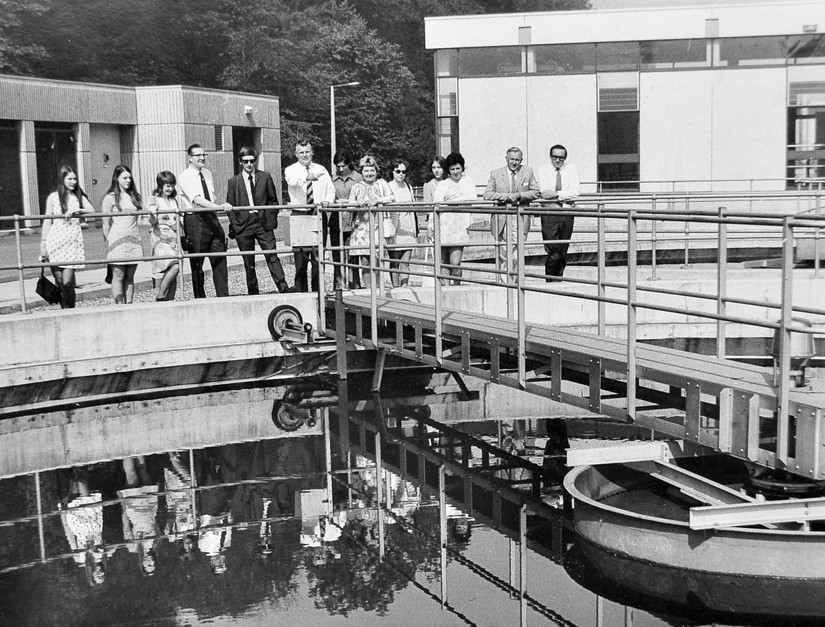 As nobody is holding their nose, it can't be too bad. These are members of the staff of the Severn River Authority who visited Telford Development Corporation's multi million pound pollution control works at Coalport on August 16, 1973. Water pollution control officer John Eddleston (centre) was showing the party round.