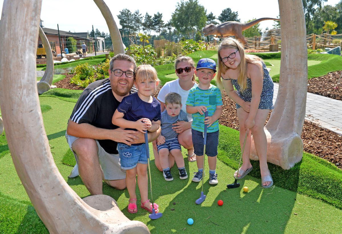 James Rogers, Harriet Rogers, Georgia Stokes, Arthur Davies, Isaac Davies and Poppy Rogers test out the new Wolverhampton Adventure Golf