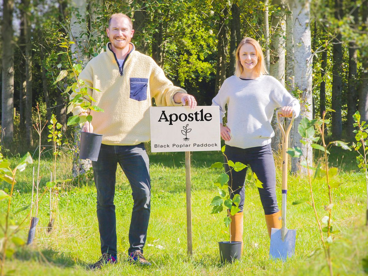Jon and Peggy Stanford, from Apostle Coffee, planting trees