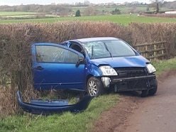 Learner driver out alone rolls car on Shifnal country road
