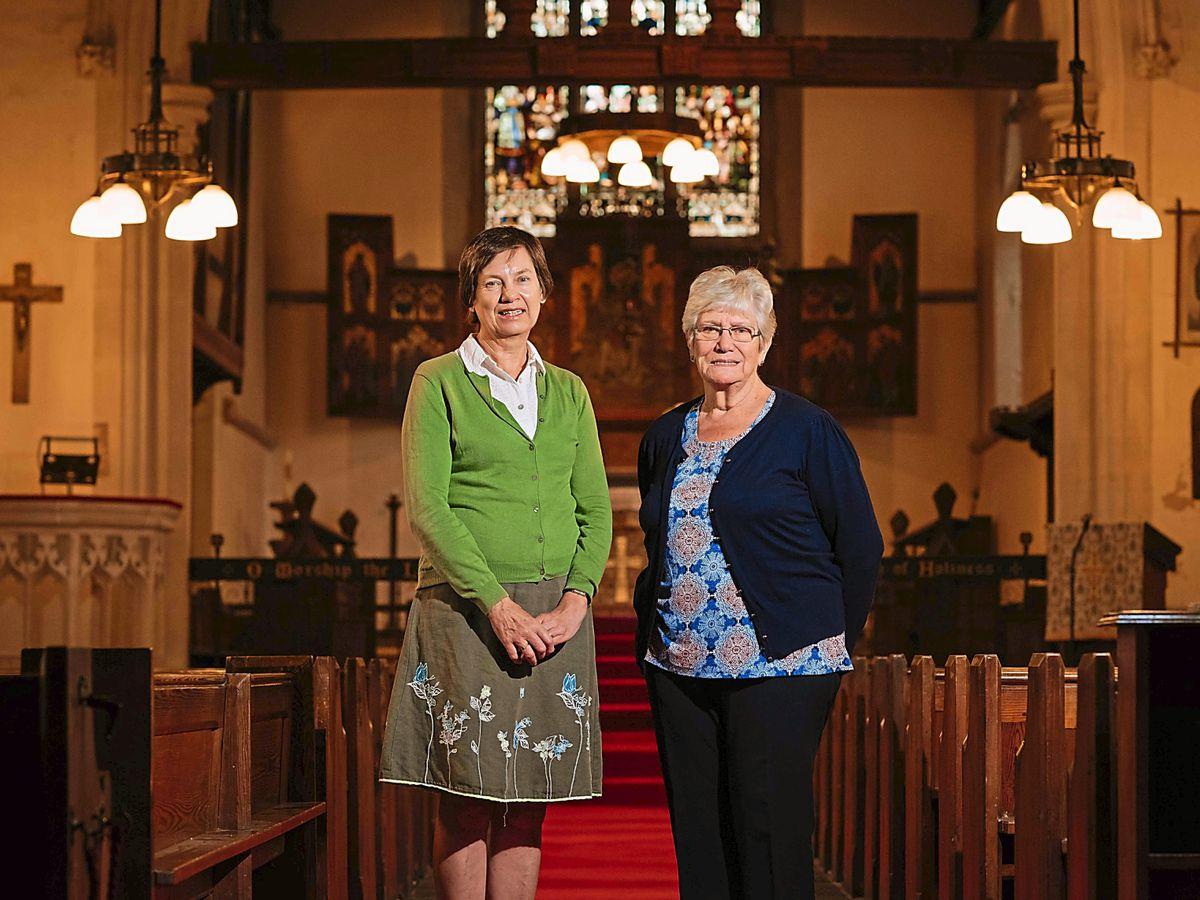 Judith Reole, Parochial Church Council secretary, and former church warden Carol Hardy