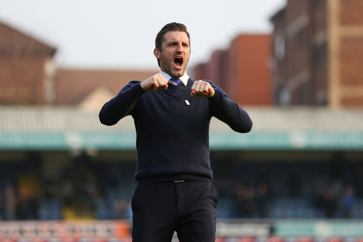 Sam Ricketts the head coach / manager of Shrewsbury Town celebrates after Shrewsbury Town beat Southend United 2-0. (AMA)