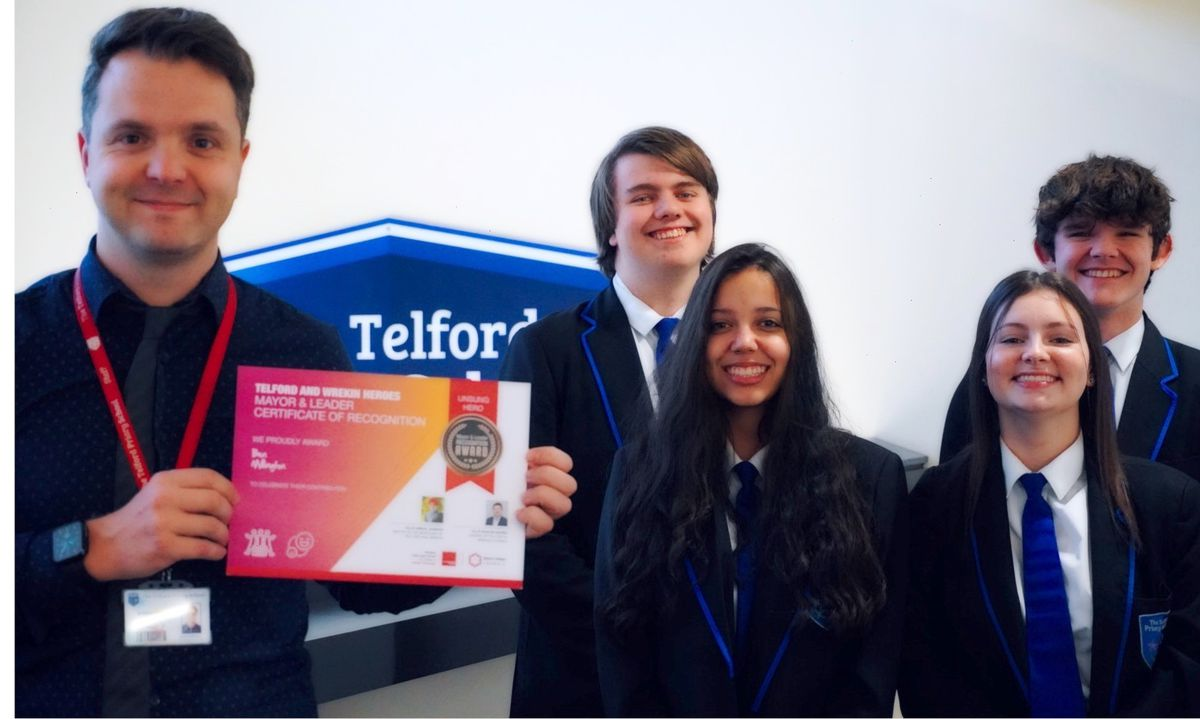 Ben Millington with students at Telford Priory School