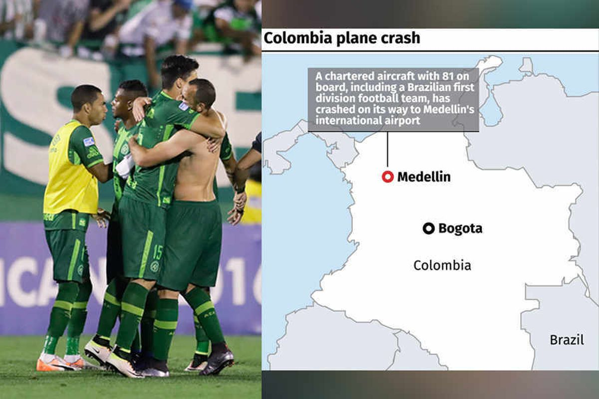 Colombia plane crash: 76 killed as plane carrying Brazilian football team crashes
