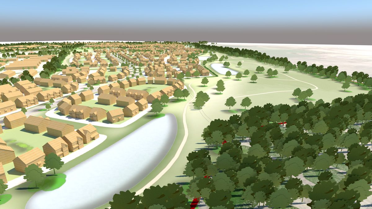 An artist's impression of what the garden village in Bridgnorth could look like, which remains unchanged in the new plan