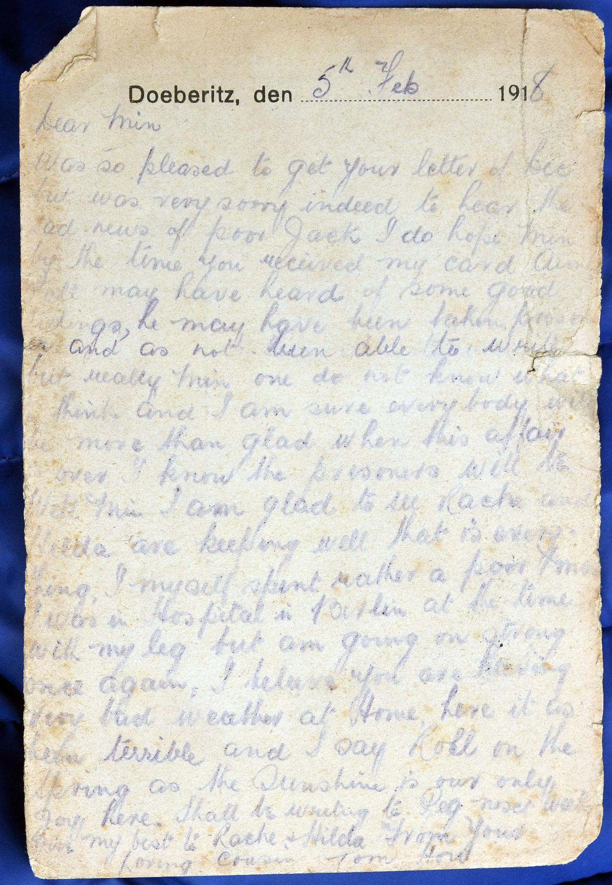 """Tom commiserates in this February 1918 message about the """"sad news of poor Jack."""""""
