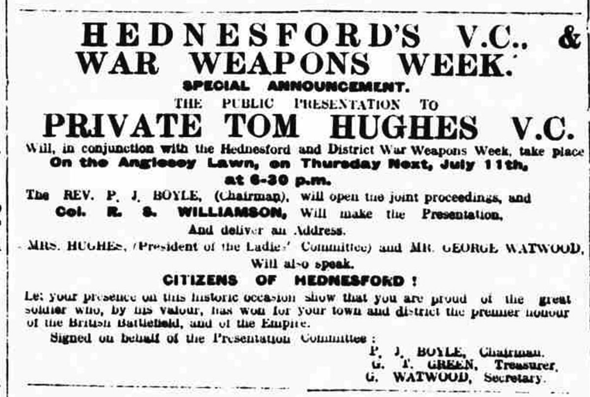 Local hero Tom Hughes attended Hednesford's war weapons week in July 1918