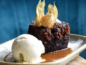 This decadent dessert proved to be a real highlight – sticky toffee pudding,  served with ice cream