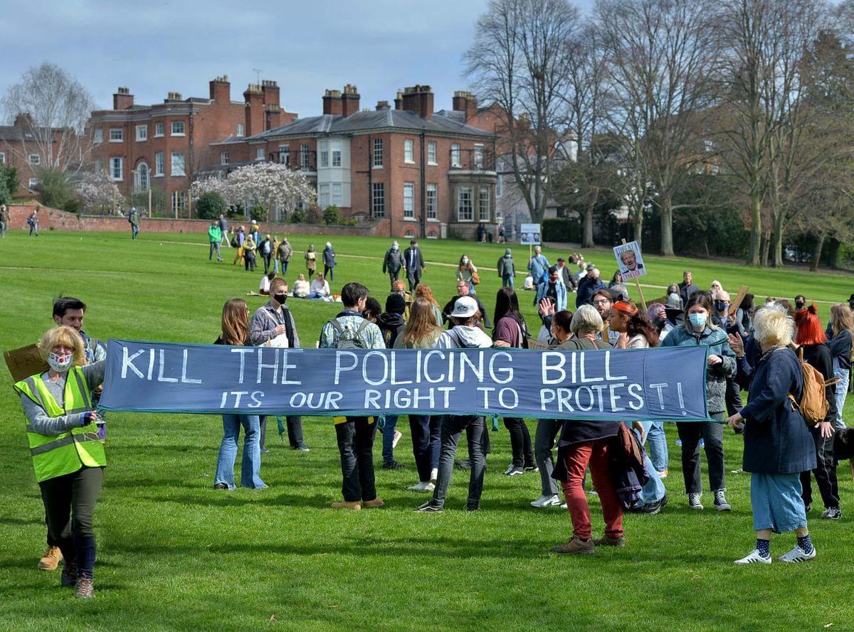 The 'Kill the Bill' protest in Shrewsbury's Quarry