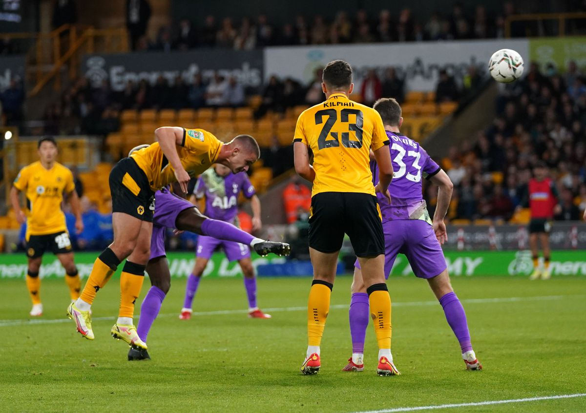 Wolverhampton Wanderers' Leander Dendoncker scores their side's first goal of the game during the Carabao Cup third round match
