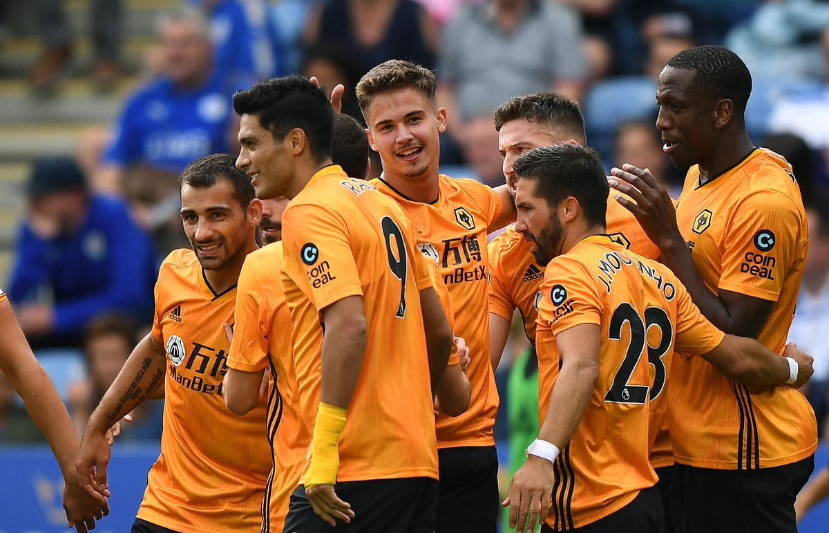 Leander Dendoncker of Wolverhampton Wanderers celebrates before seeing his goal cancelled out after a VAR decision (AMA)