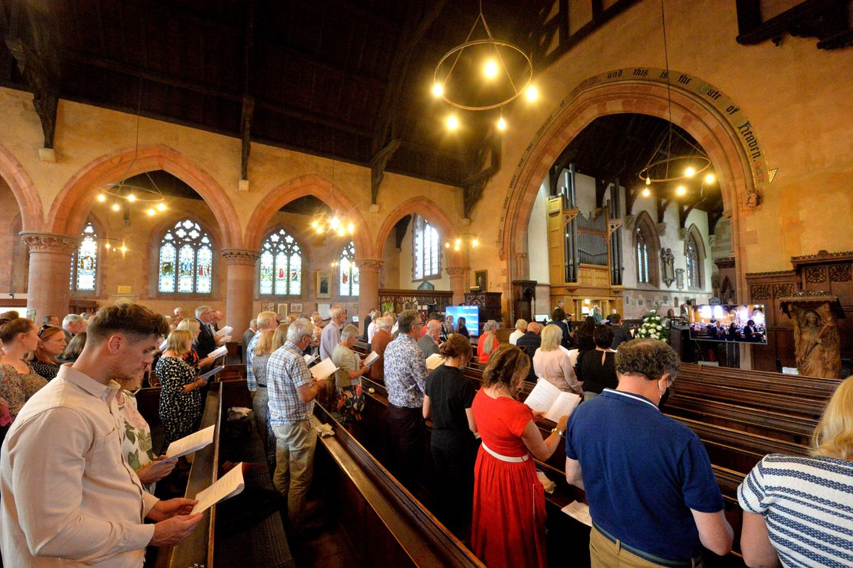 People taking part in the remembrance service which took place at St Leonard's Church