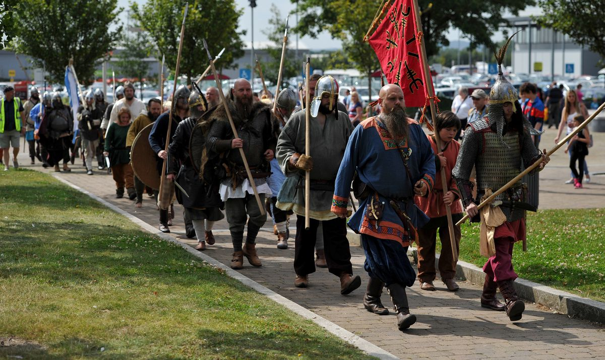 Uh-oh, here they come. The Danes marching through Wednesfield intent on teaching the English a lesson, in a 2015 re-enactment.