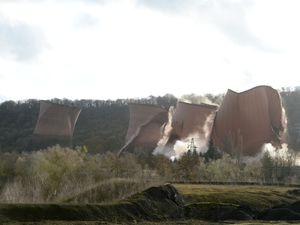 The moment the cooling towers were demolished at Ironbridge Power Station