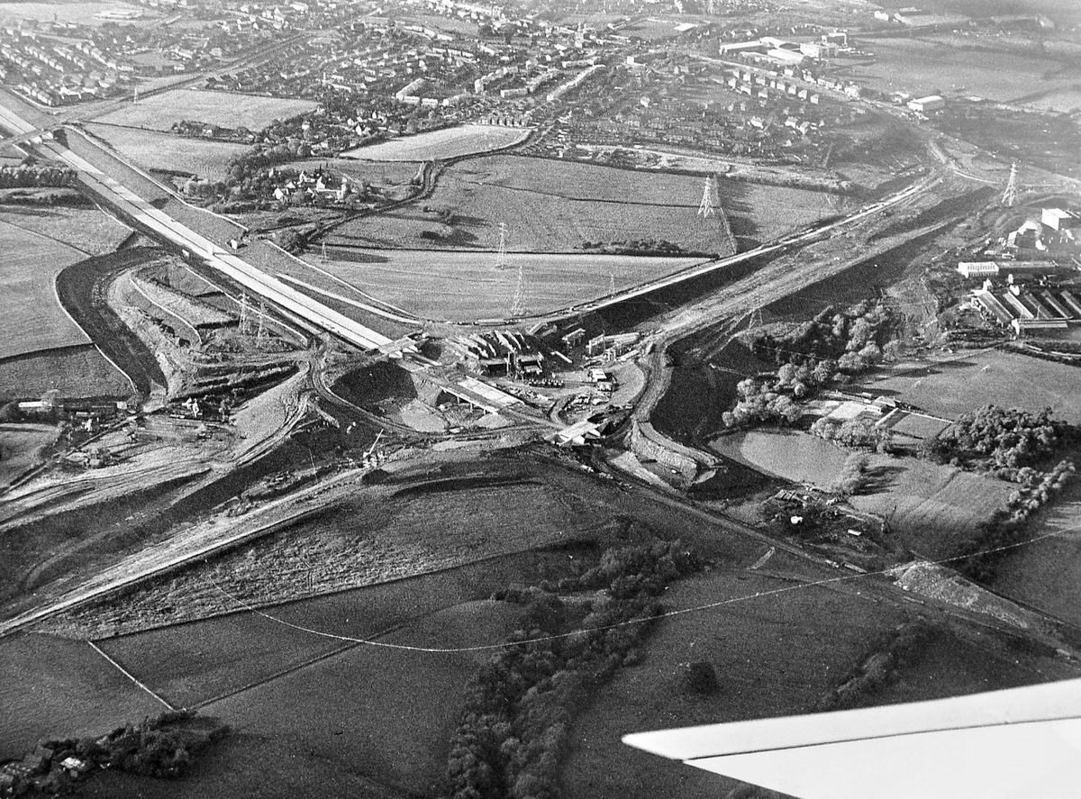 The Ketley Dingle interchange takes shape in October 1974. It was being built on the M54, which was also being built, and was at the time dubbed the Wellington bypass – it was at the time only a relatively short stretch of motorway which was not connected to the national motorway network until 1983.