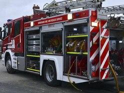 Electricity pylon hit by caravan blaze near Oswestry
