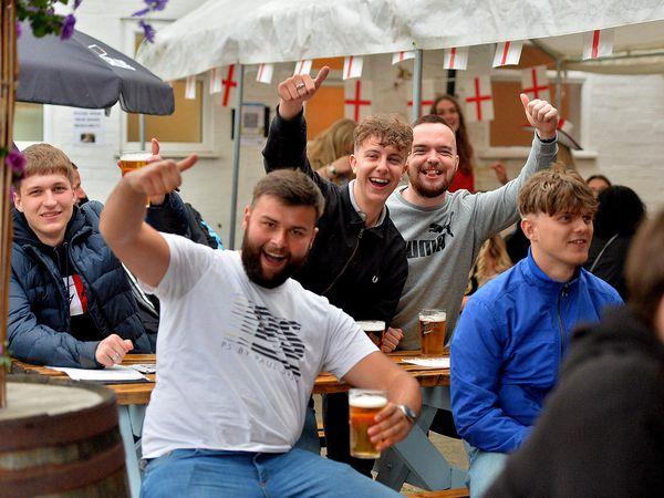 Fans at The Old Bush, Albrighton