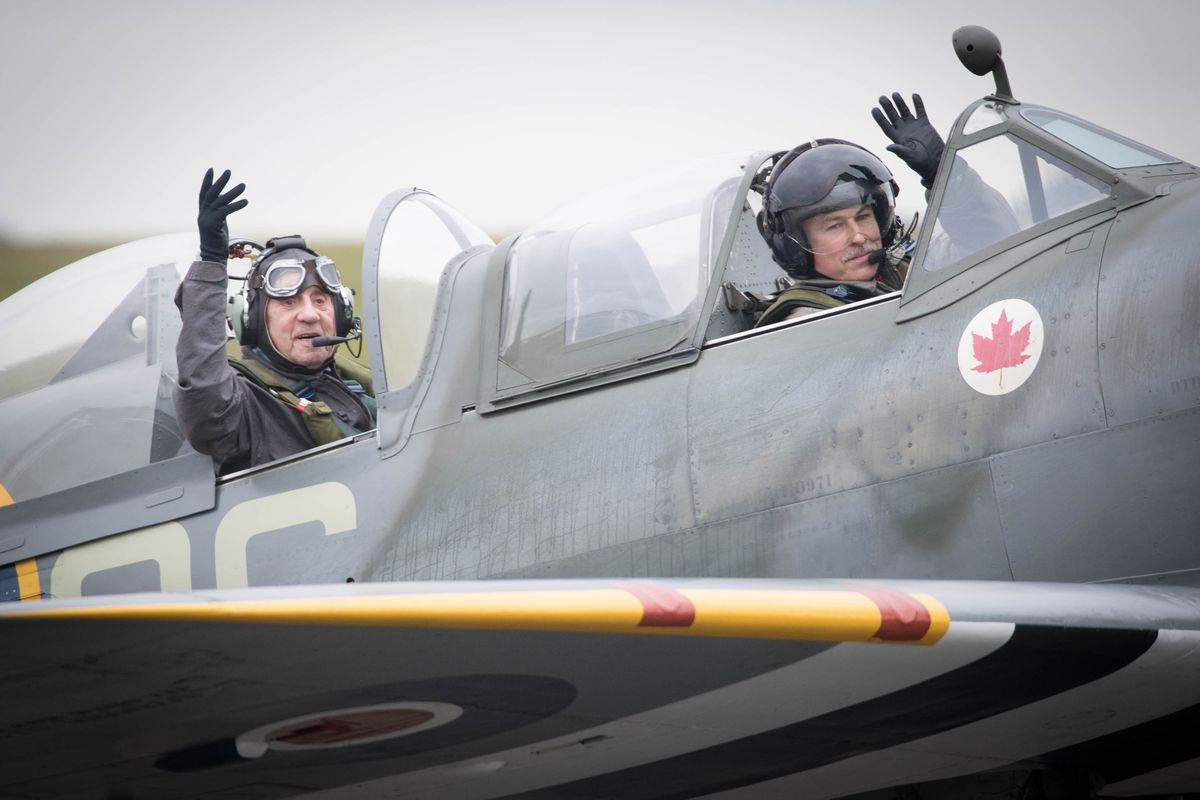 Allan Scott was treated to a flight in a two-seater Spitfire in 2015
