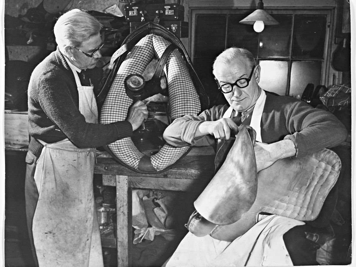 Tom Ryder, Shrewsbury – February 12, 1958. Tom Ryder carries on the saddler business started by grandfather 100 years ago.