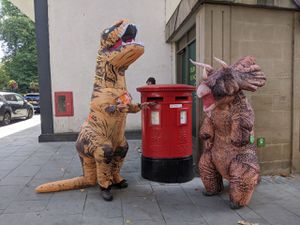 'Dinosaurs' protest outside the old Waitrose in Pride Hill, Shrewsbury