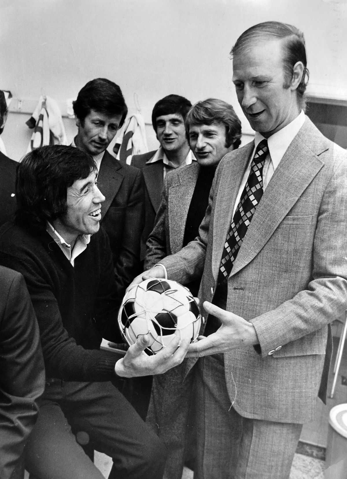 Gordon Banks, seated left, pictured in the Bucks Head dressing room for the centenary of Telford United in 1976. Also pictured are Roger Hunt, Norman Hunter, referee Bert Newsom and Jack Charlton, right
