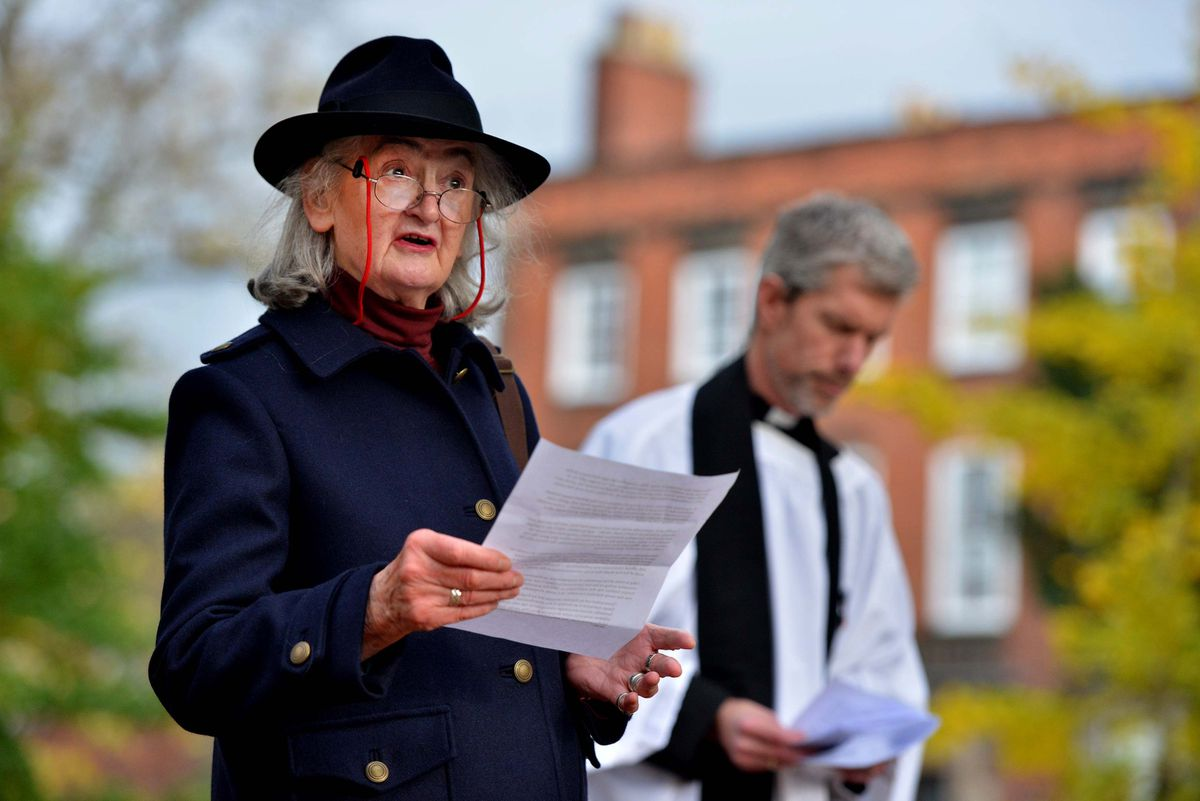 Helen McPhail, a founder member of the Wilfred Owen Association, at the ceremony.