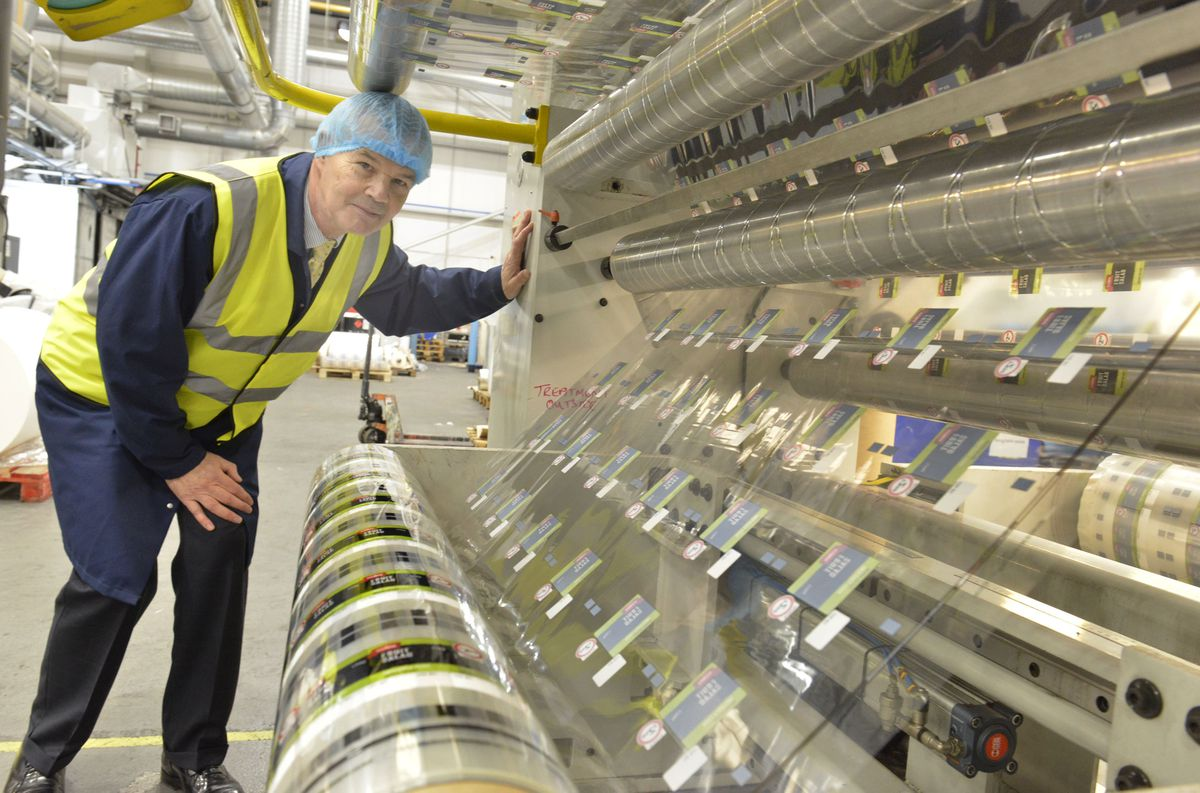 Mike Golding in the TCL Packaging works at Telford