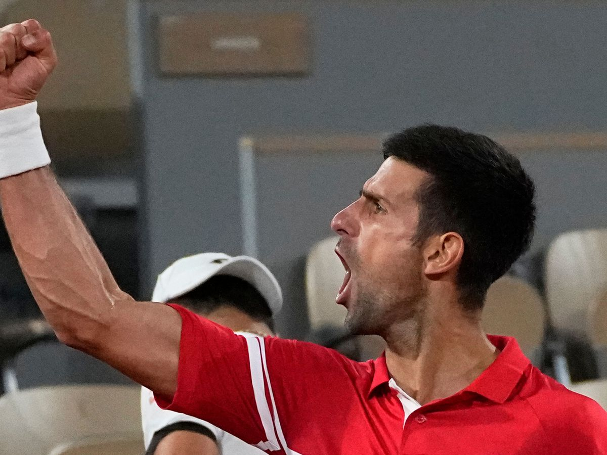 Novak Djokovic roared towards his support camp at the end of the match