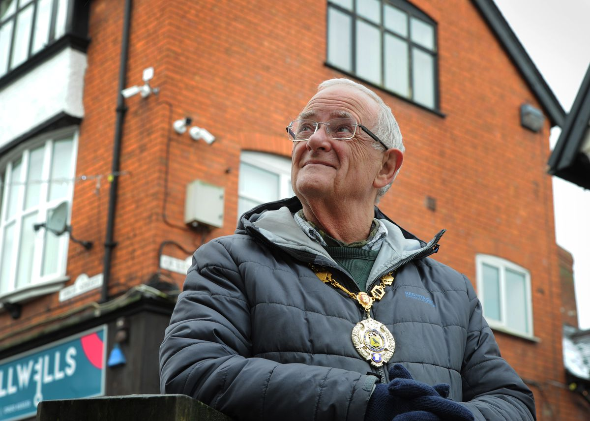 Looking at the new CCTV cameras is Market Drayton Mayor Roy Aldcroft